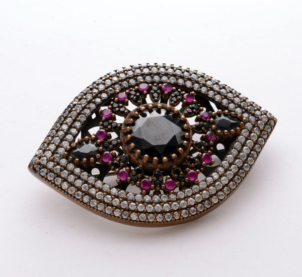 Eye-shaped Crystals Pendant Brooch