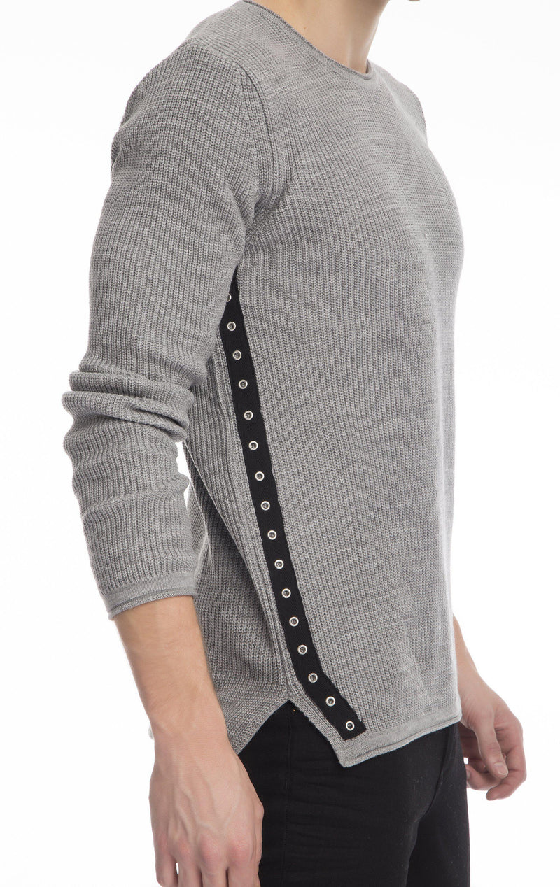 Eyelet Taped Long Sleeve Sweater - Grey - Ron Tomson
