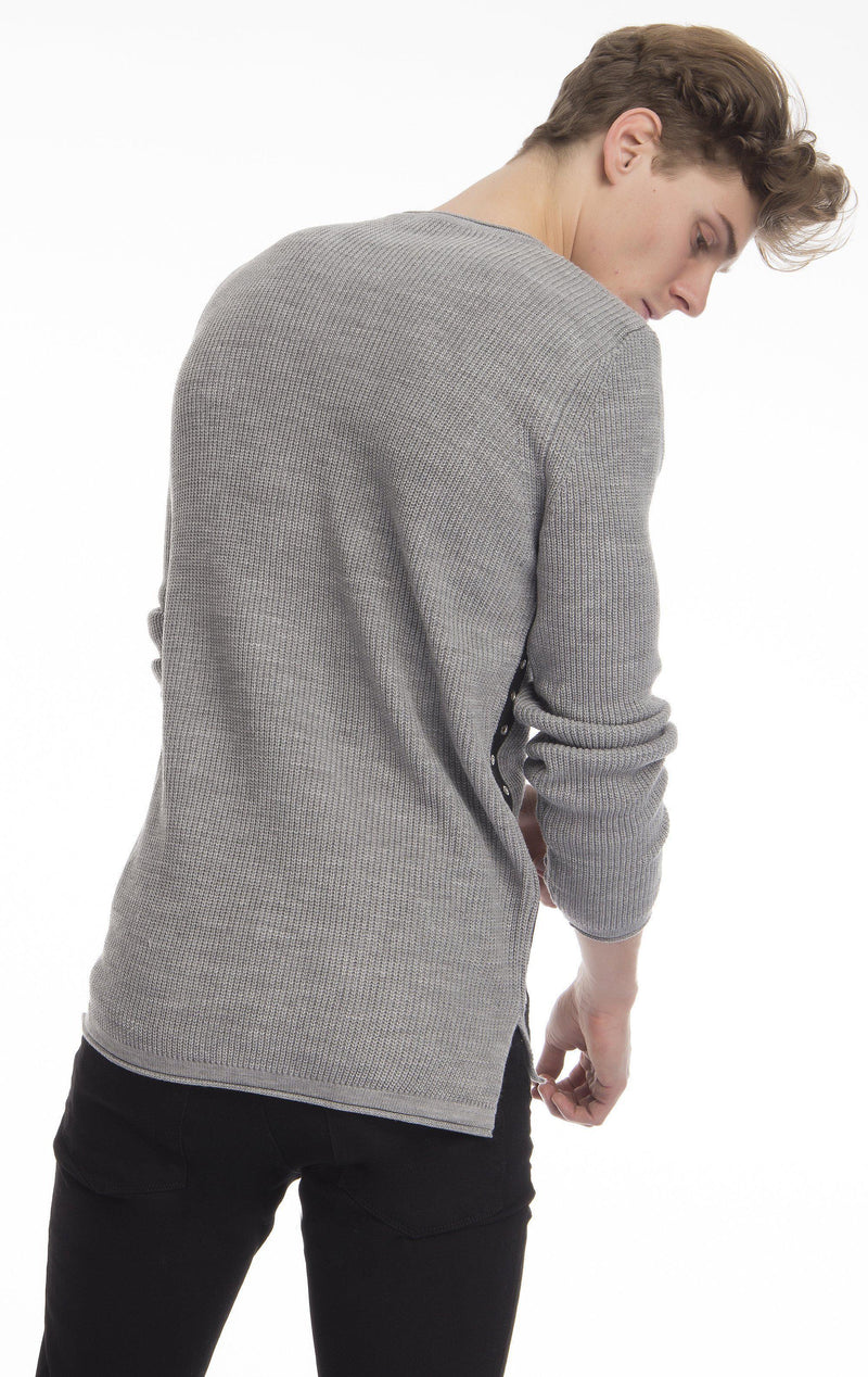 Eyelet Taped Long Sleeve Sweater - Grey-Cardigans-Ron Tomson-GREY-M-Ron Tomson