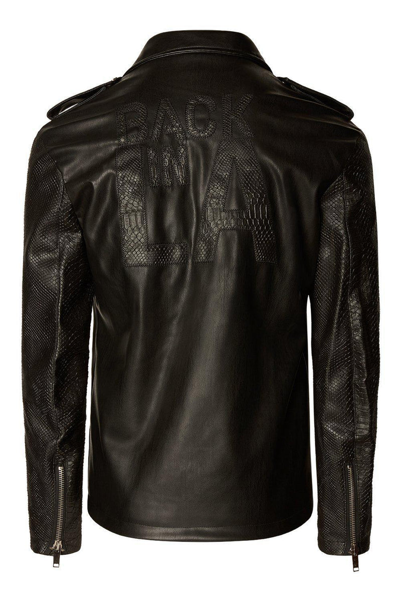 FAUX LEATHER MOTO JACKET BLACK