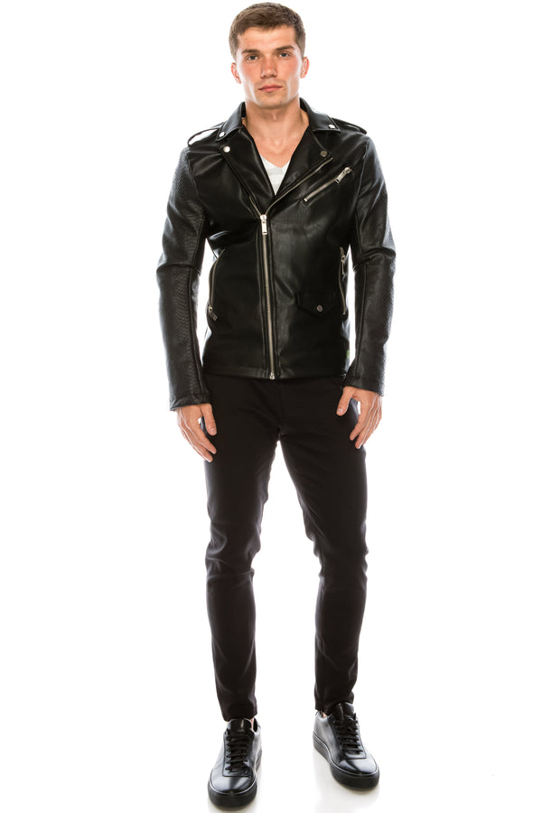 FAUX LEATHER MOTO JACKET BLACK - Ron Tomson