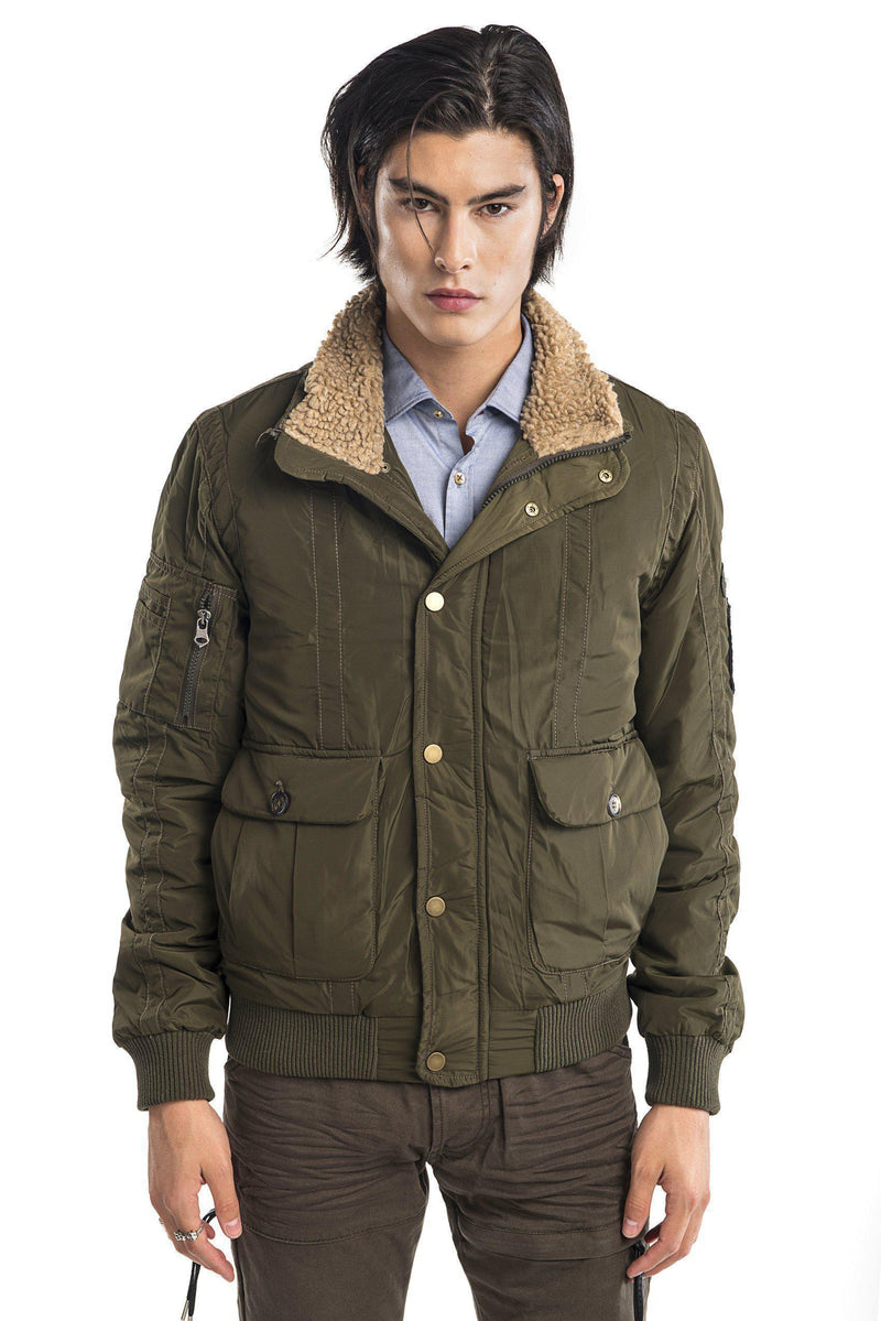 Faux shearling collar aviator jacket - KHAKI - Ron Tomson