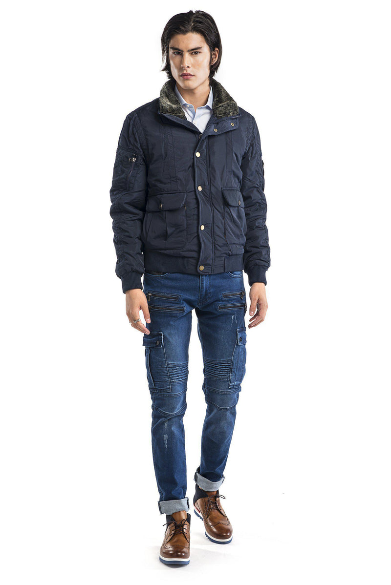 Faux Shearling Collar Aviator Jacket - NAVY - Ron Tomson