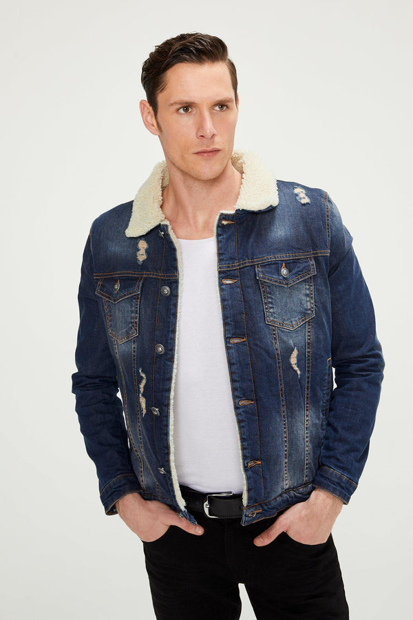 Faux Shearling Lining Jacket - Navy