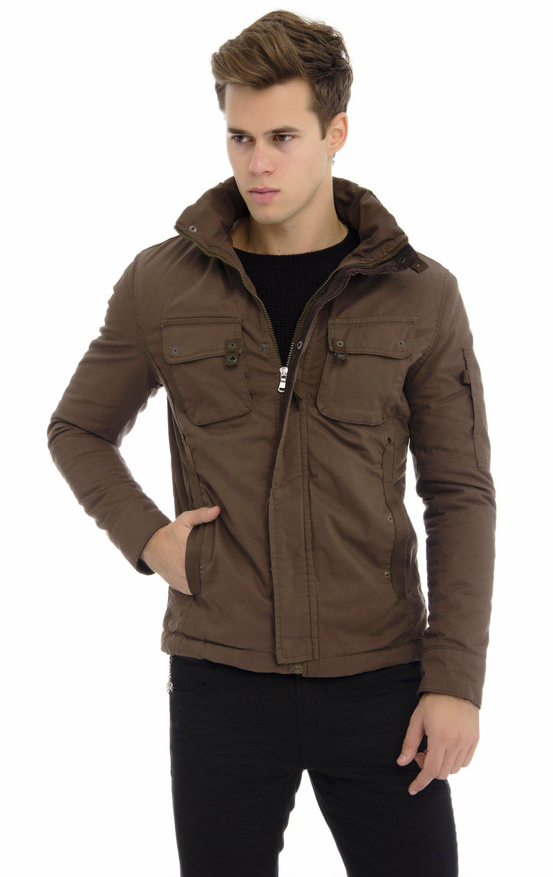 Faux Shearling Lining Long Utility jacket - Khaki