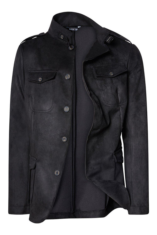 Faux Suede Safari Jacket - Black - Ron Tomson