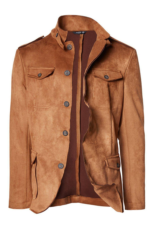 Faux Suede Safari Jacket - Camel - Ron Tomson