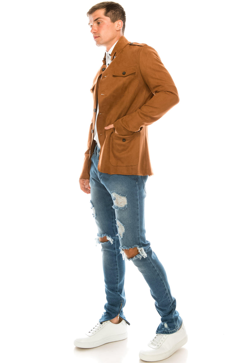Faux Suede Safari Jacket - Chocolate - Ron Tomson