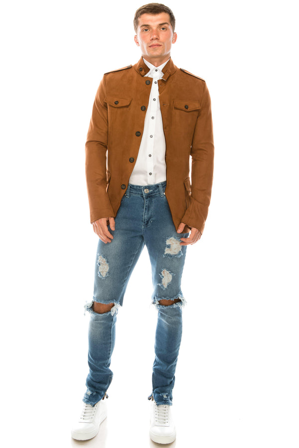 Faux Suede Safari Jacket - Chocolate