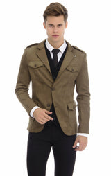 Faux Suede Safari Jacket - Khaki - Ron Tomson