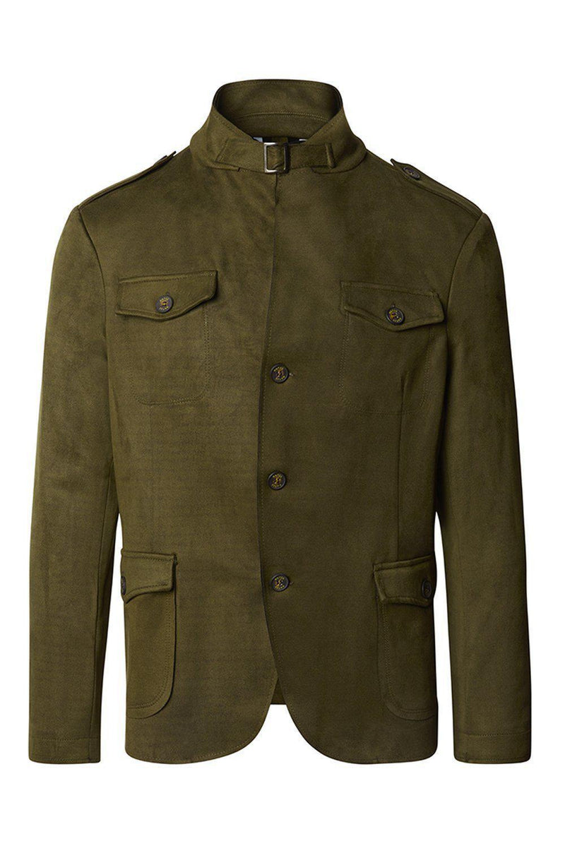 Faux Suede Safari Jacket - Khaki