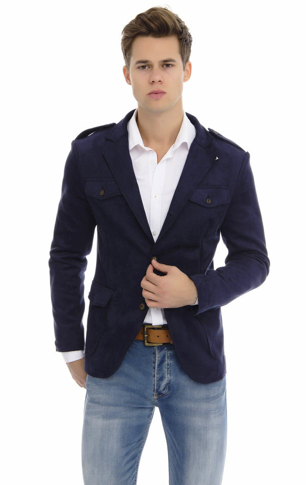 Faux Suede Safari Jacket - Navy - Ron Tomson