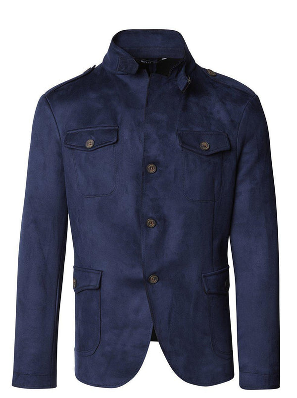 Faux Suede Safari Jacket - Navy