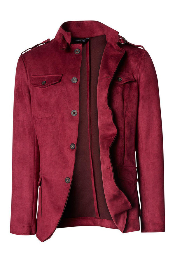 Faux Suede Safari Jacket - Wine - Ron Tomson