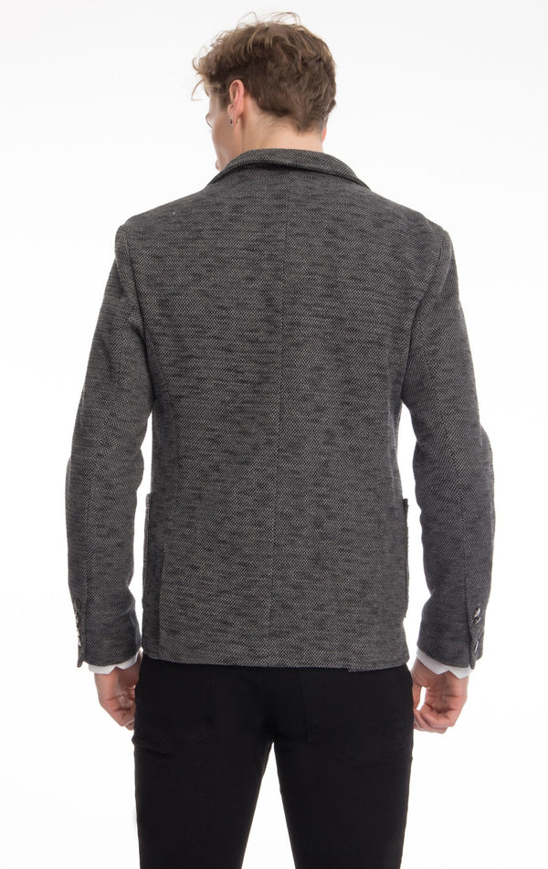 Finished Marled Knitted Blazer - Black