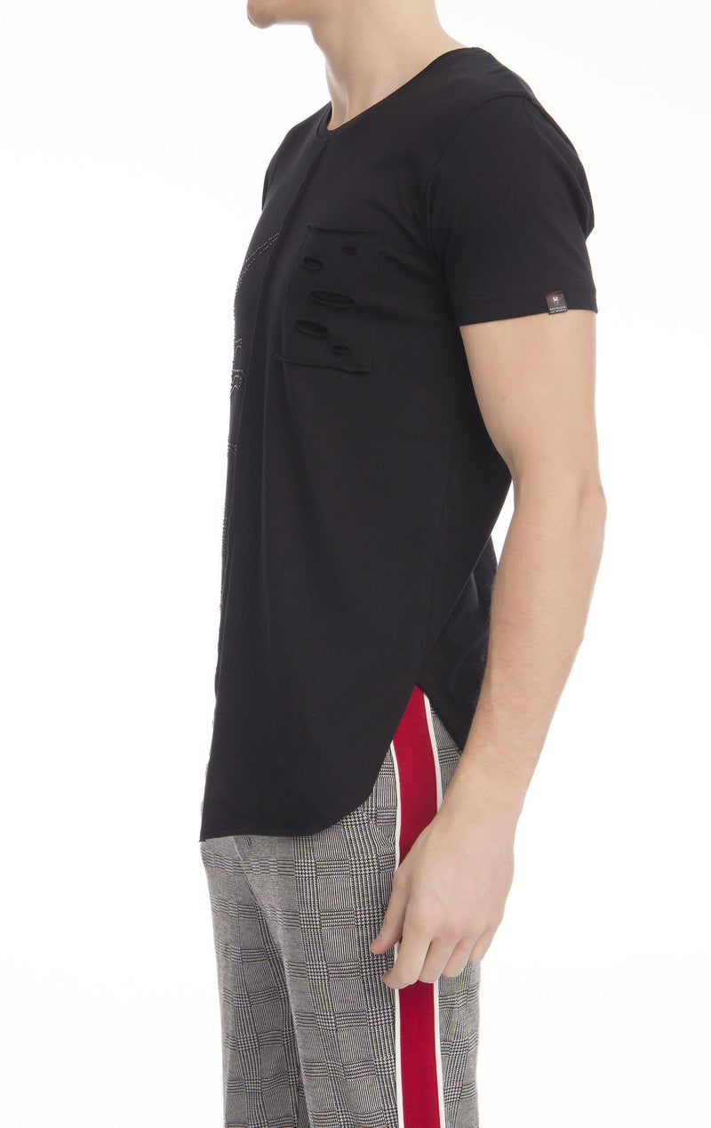 Fitted Asymmetrical Cotton T-shirt - Ron Tomson