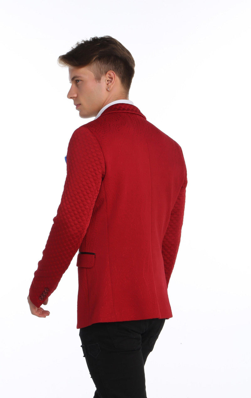 Fitted Brocade Jacket - Red