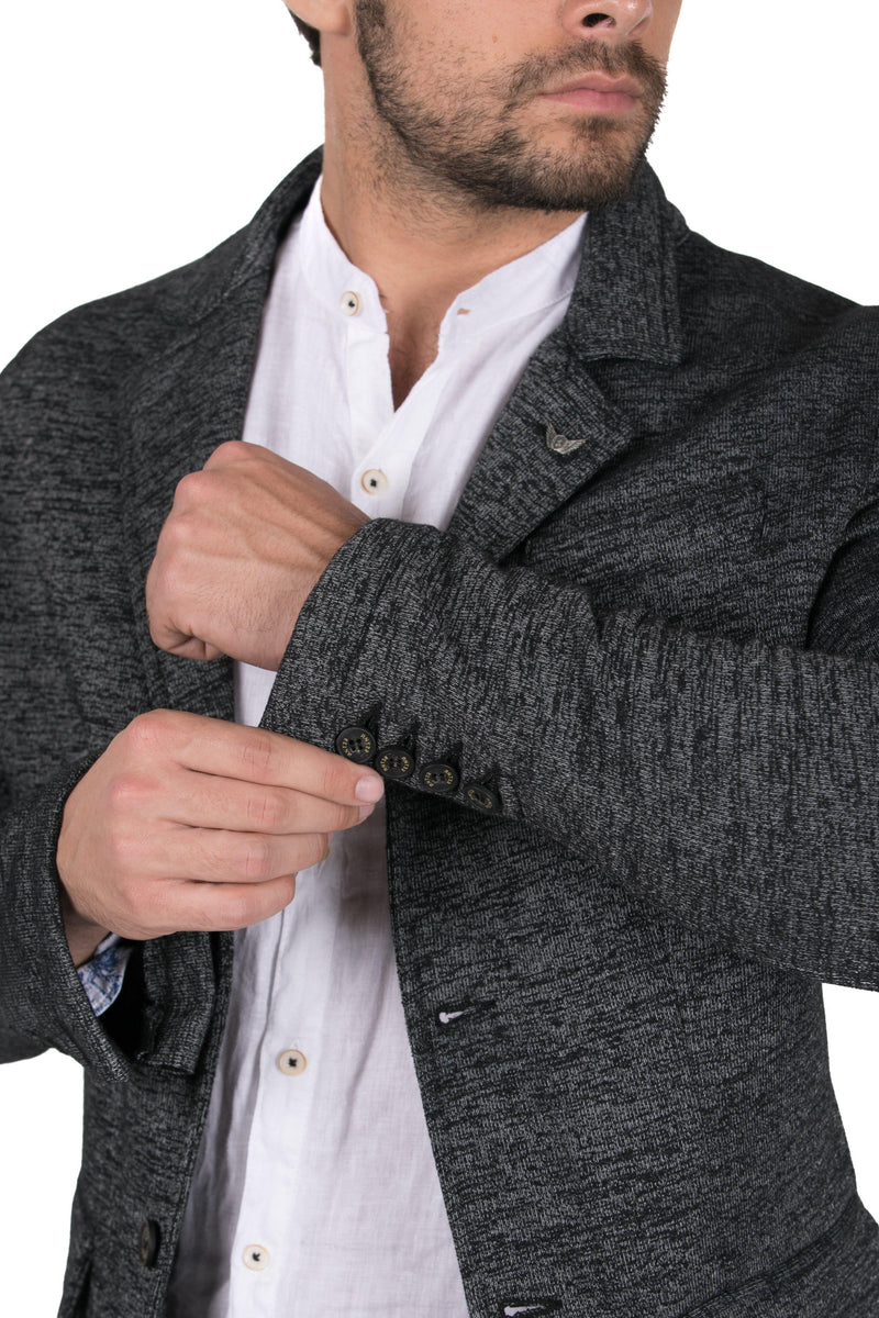 Fitted Finished Knit Blazer-Jackets-Ron Tomson-NAVY-S-Ron Tomson