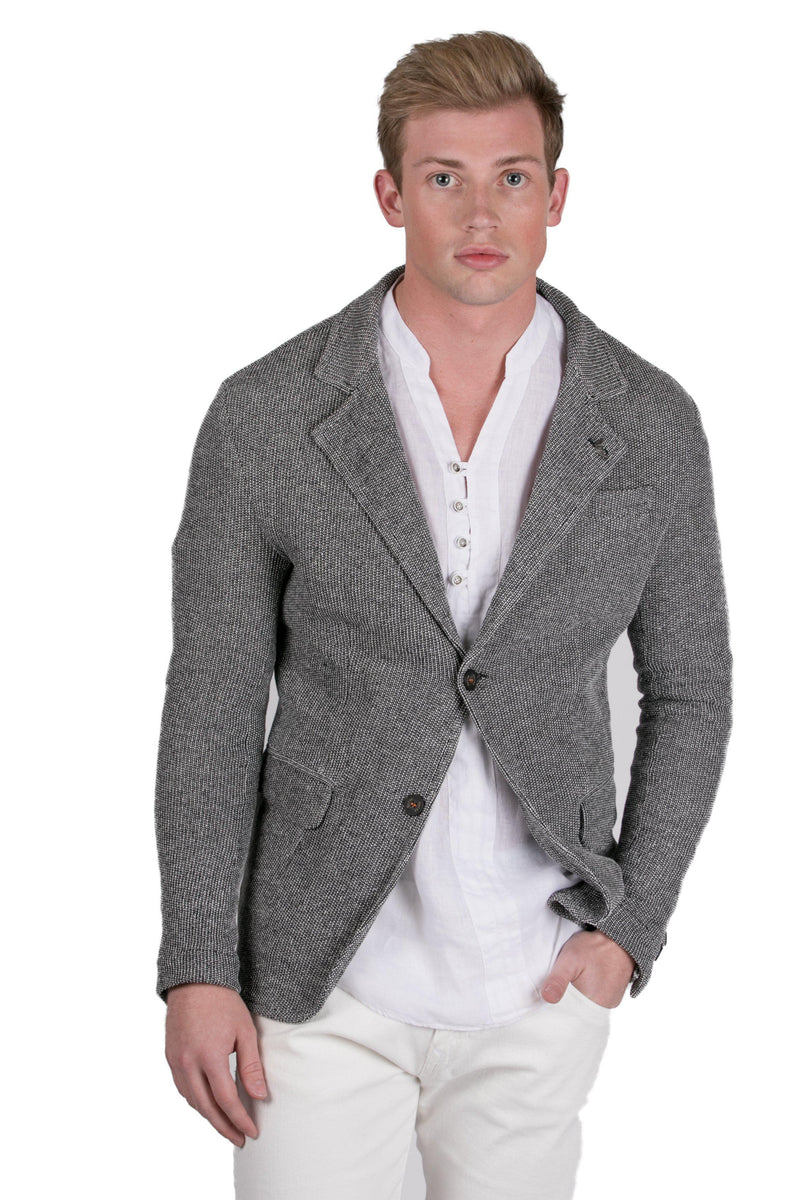 Fitted Knit Men's Blazer-Jackets-RON TOMSON-BLACK WHITE-S-Ron Tomson