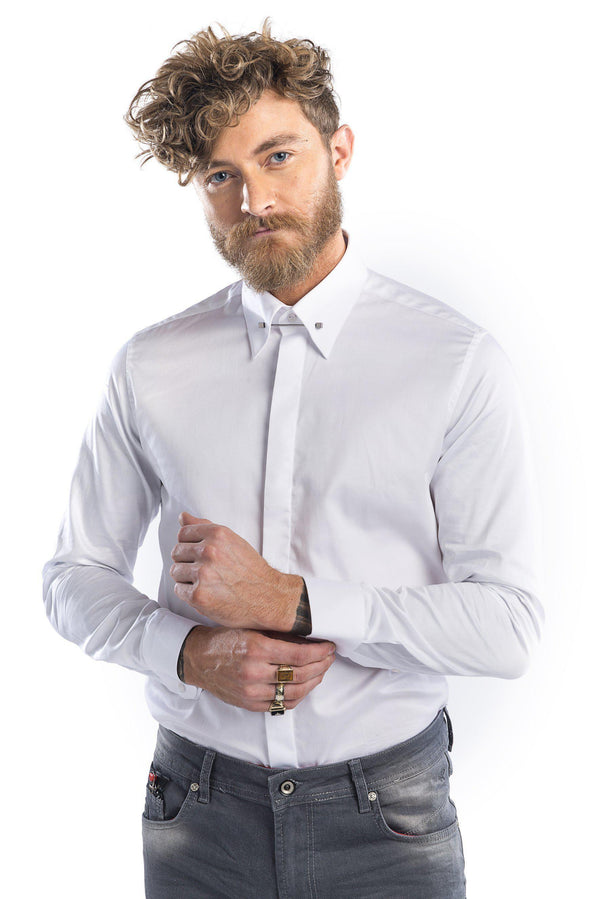 Textured Tie Bar Tuxedo Shirt-Shirts-Ron Tomson-WHITE-01-S-Ron Tomson