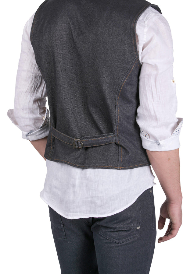 Fitted V-Shaped Vest-VESTS-RON TOMSON-BLACK-S-Ron Tomson