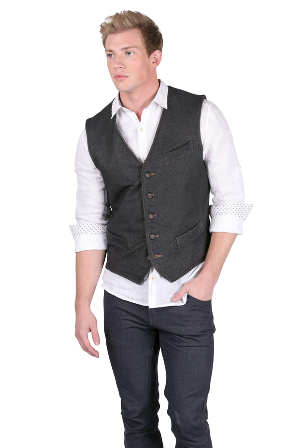 Fitted V-Shaped Vest - Navy - Ron Tomson