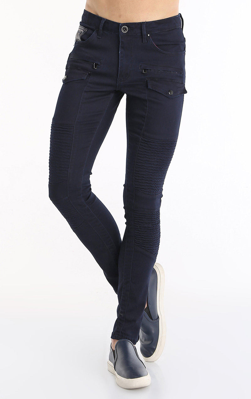 FLAP POCKET ZIPPER SKINNY MOTO JEANS -  NAVY BLACK
