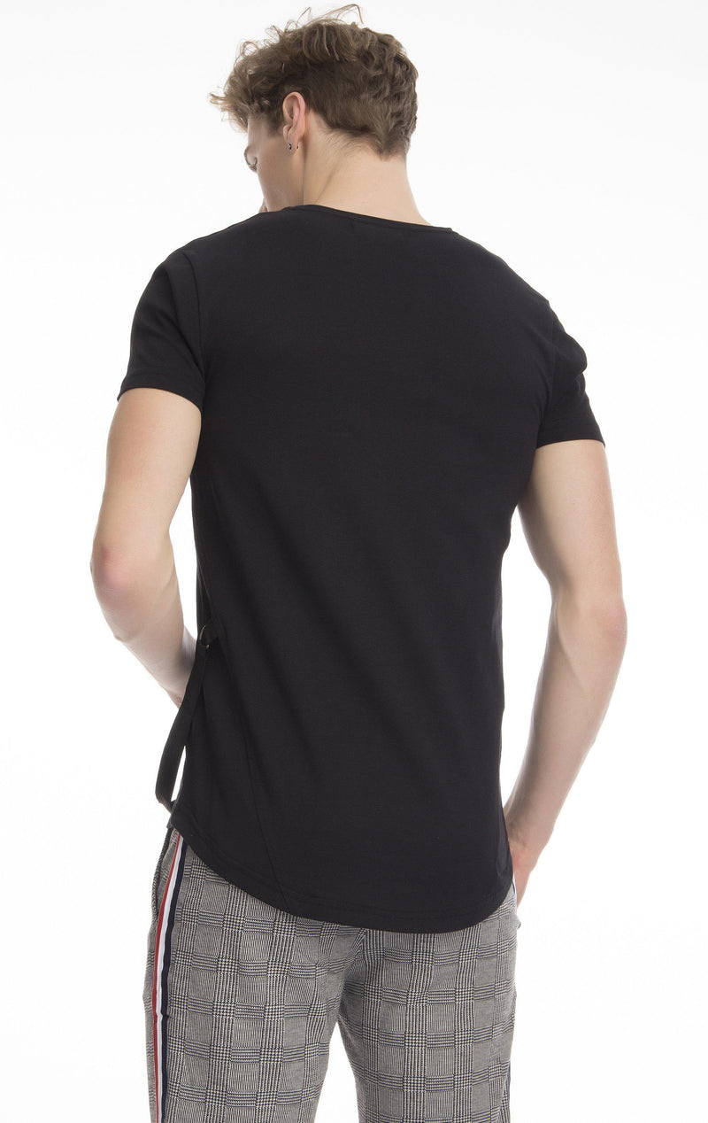 Fly Solo Fitted Cotton String T-shirt-T-shirts-Ron Tomson-BLACK-S-Ron Tomson