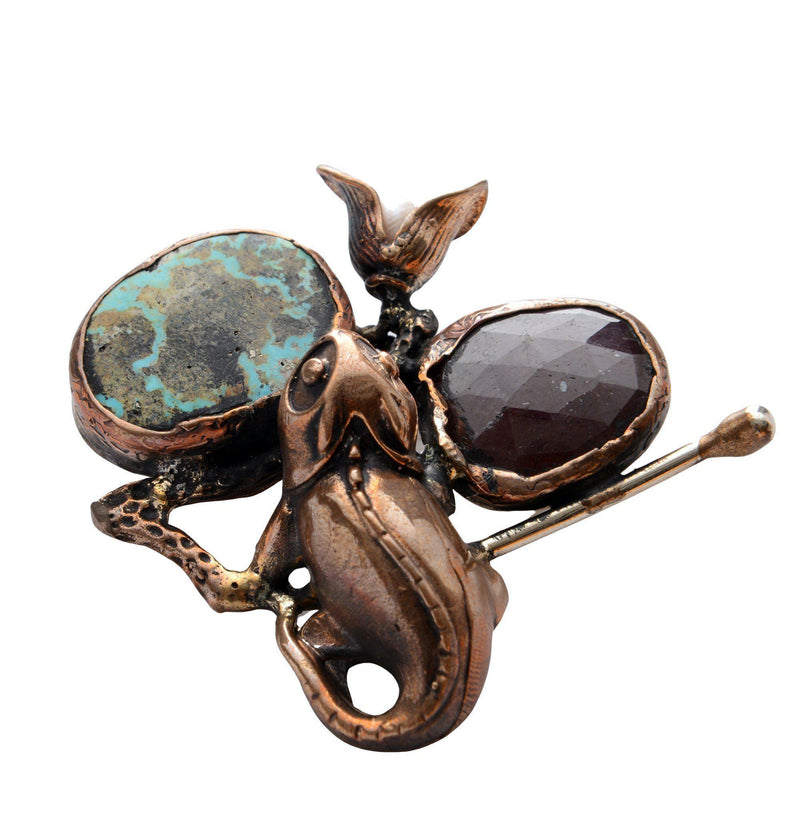 Frog and Stones Pendant Brooch - Ron Tomson