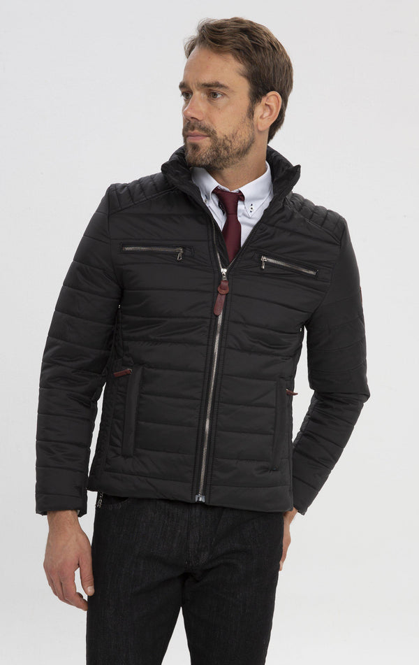 Funnel Neck Puffer Jacket - Black