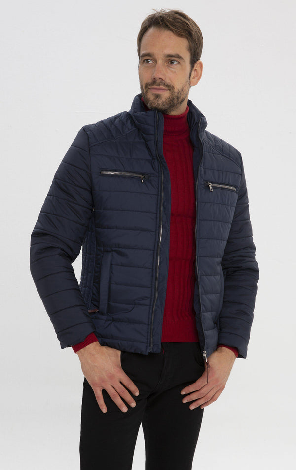 Funnel Neck Puffer Jacket - Navy