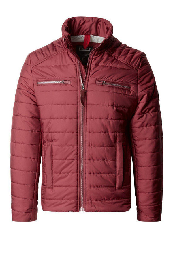 Funnel Neck Puffer Jacket - Wine
