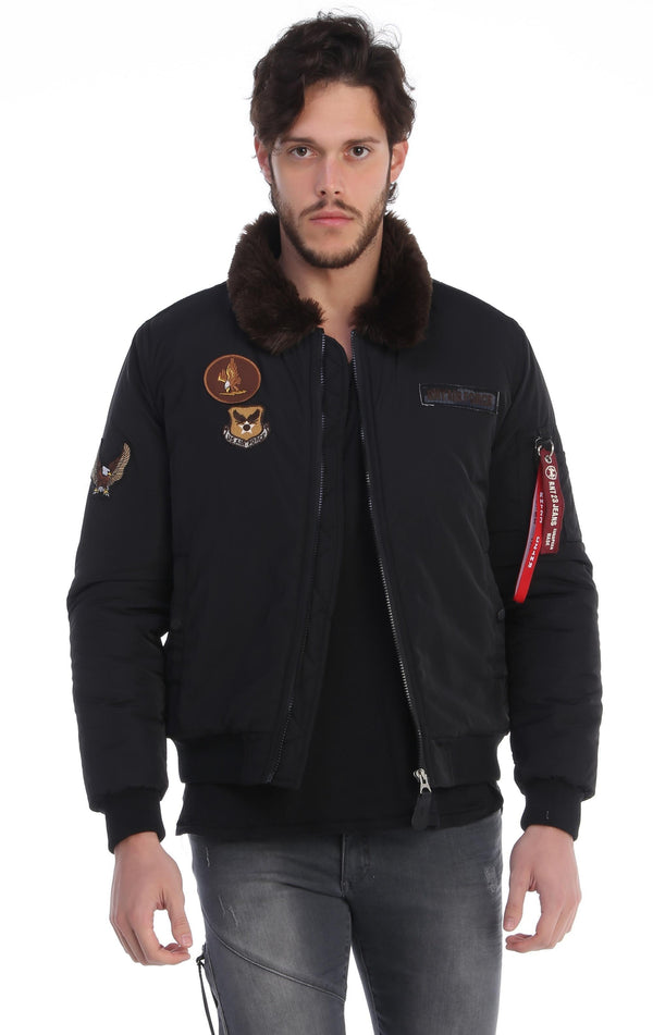 Fur Army Patch Bomber Jacket - BLACK