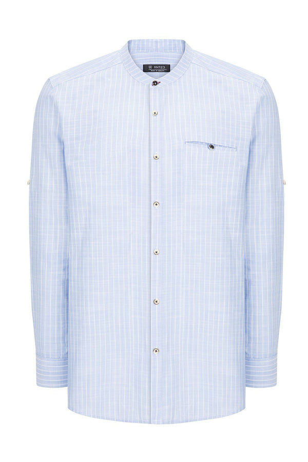 General Striped Cotton Shirt - BLUE - Ron Tomson