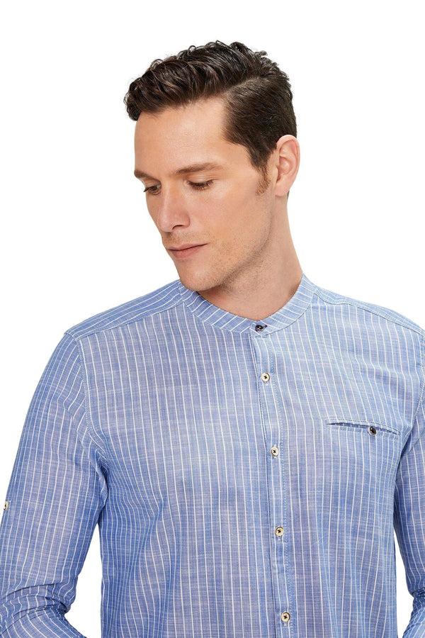 General Striped Shirt - DARK BLUE - Ron Tomson