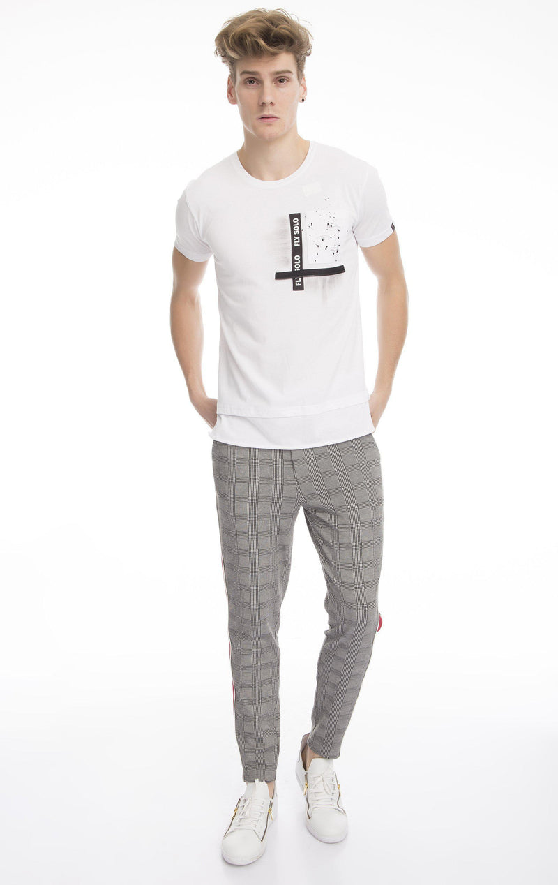 Ghost Pocket Zip Stitch T-Shirt-T-shirts-Ron Tomson-WHITE-S-Ron Tomson