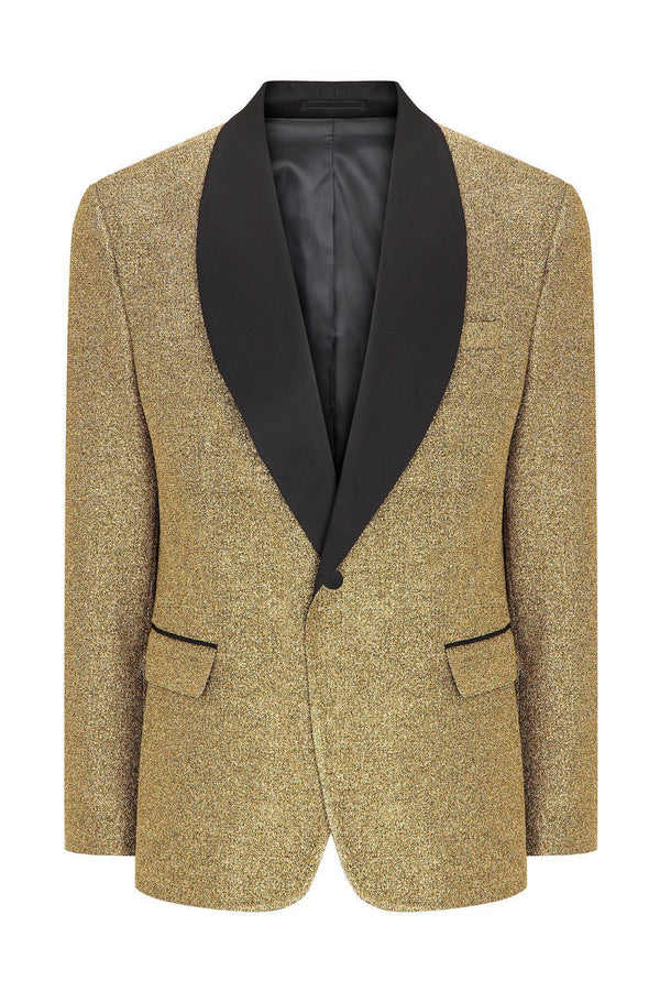 Glitter Shawl Lapel Tuxedo Jacket  - Gold - Ron Tomson