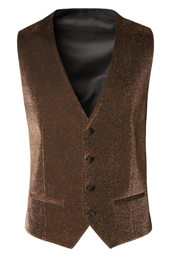 Glitter V-Shaped Vest - Gold - Ron Tomson