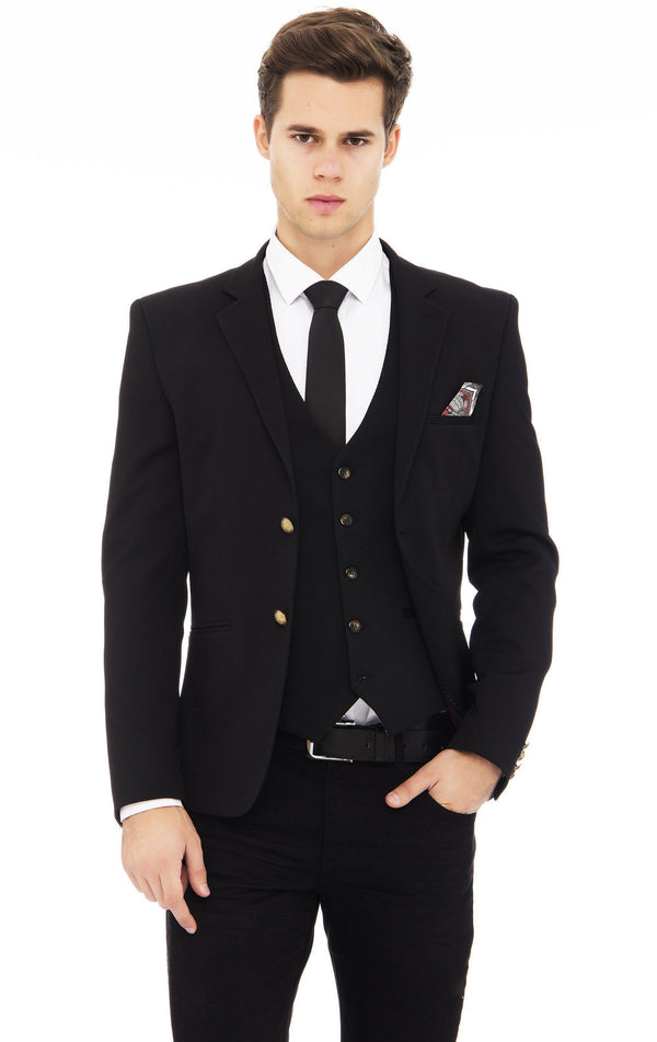 Two Button Notch Lapel Fitted Blazer - More Colors-Blazers & Sport Coats-Ron Tomson-BLACK-M/38-Ron Tomson