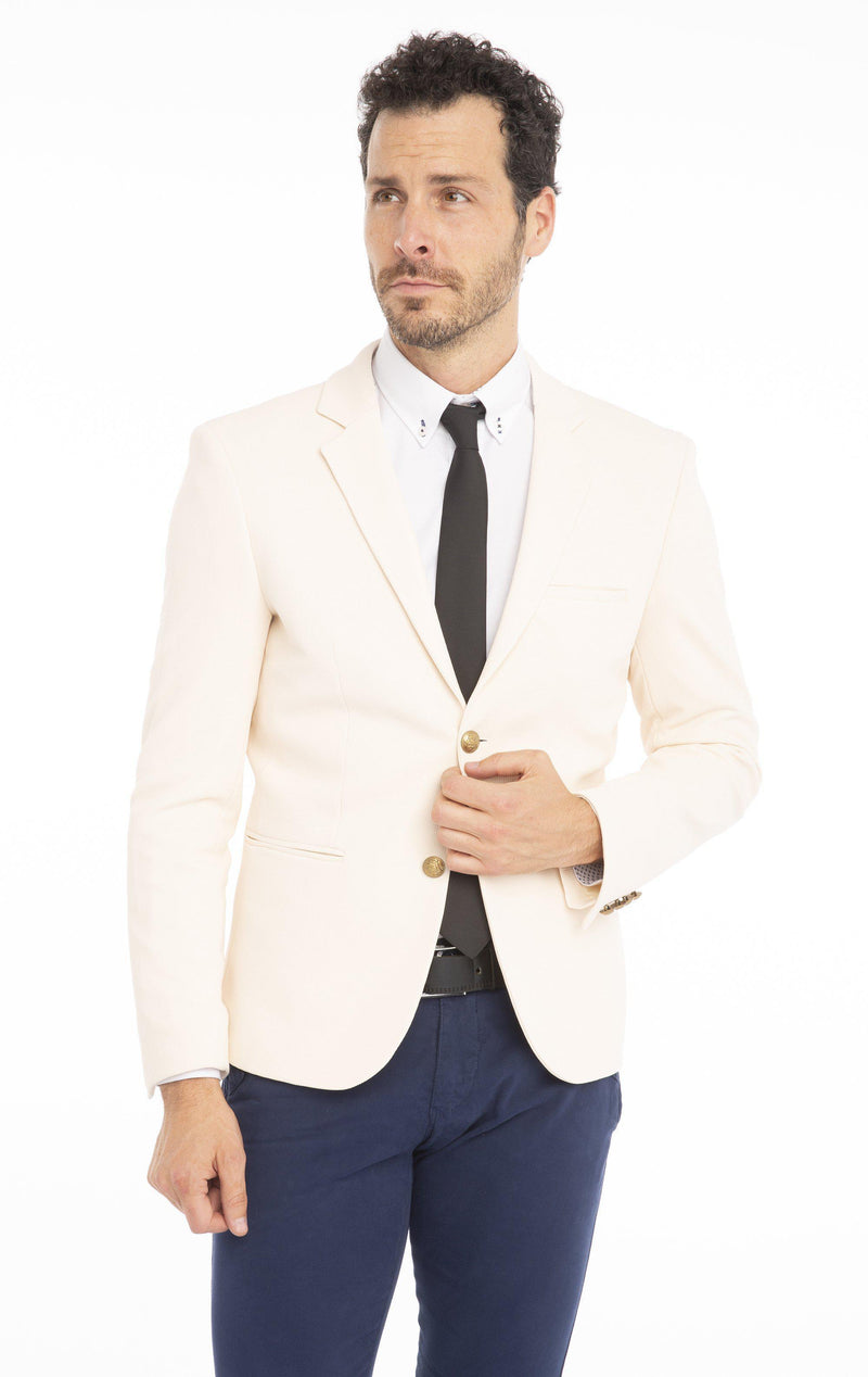 Gold-Button Fitted Notch Blazer - Ecru - Ron Tomson
