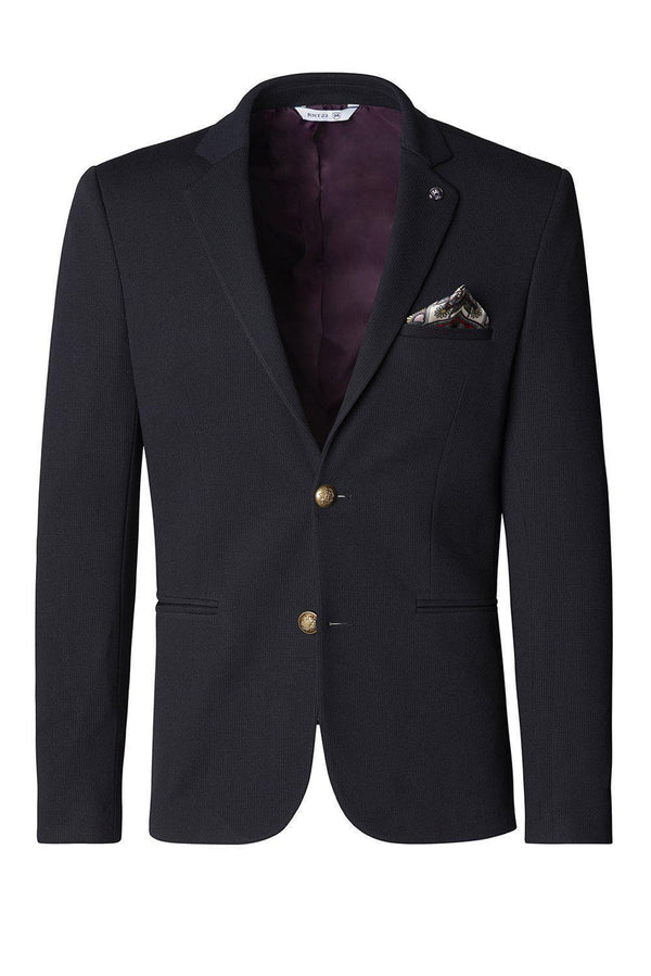 Gold-Button Fitted Notch Blazer - Navy - Ron Tomson