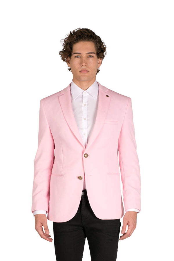 Gold-button Fitted Notch Blazer - Pink-Blazers & Sport Coats-RON TOMSON-PINK-S-Ron Tomson