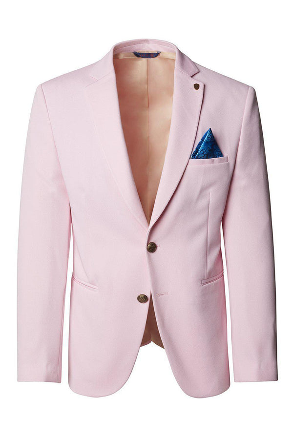 Gold-Button Fitted Notch Blazer - Pink - Ron Tomson