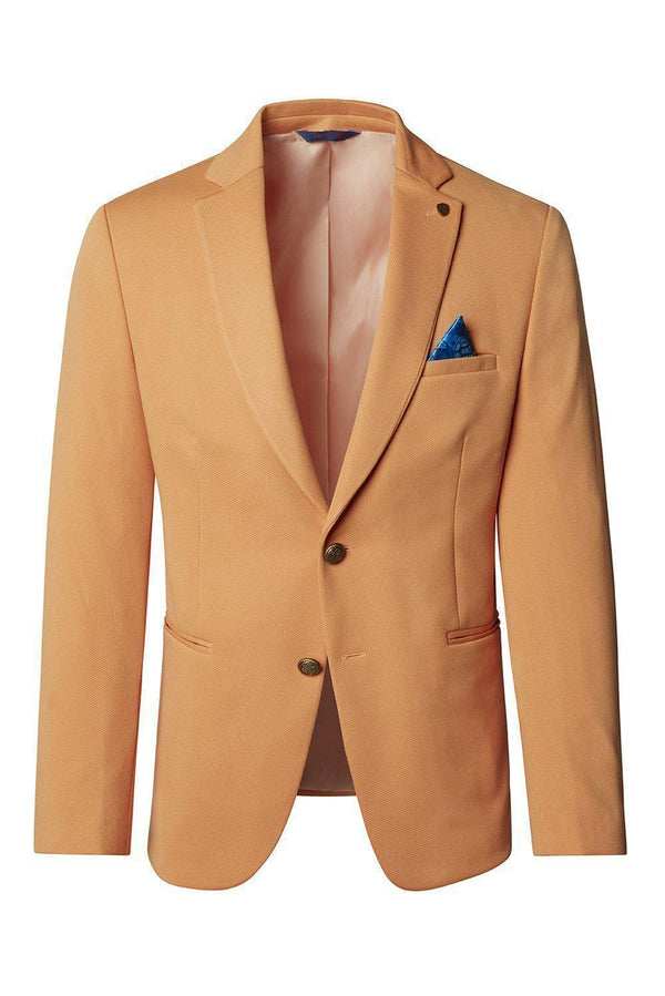 Gold-Button Fitted Notch Blazer - Yellow - Ron Tomson