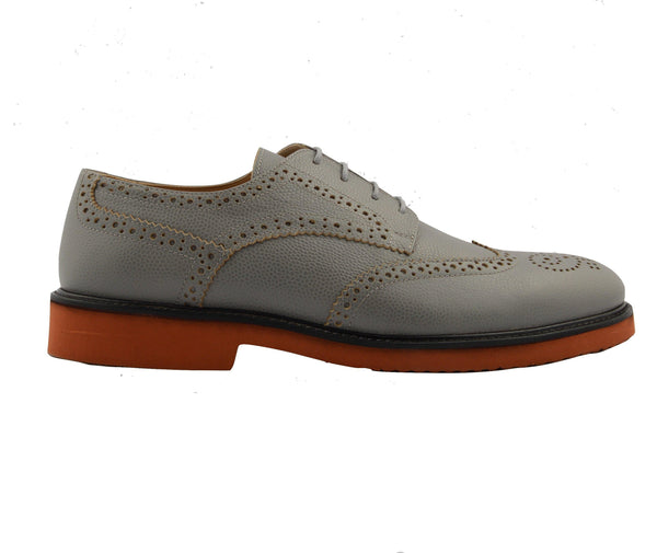 Grained Leather Wingtip Shoes - Grey
