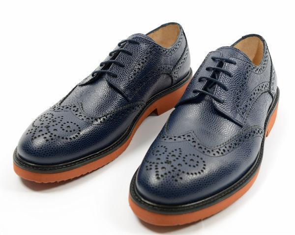Grained Leather Wingtip Shoes - Navy