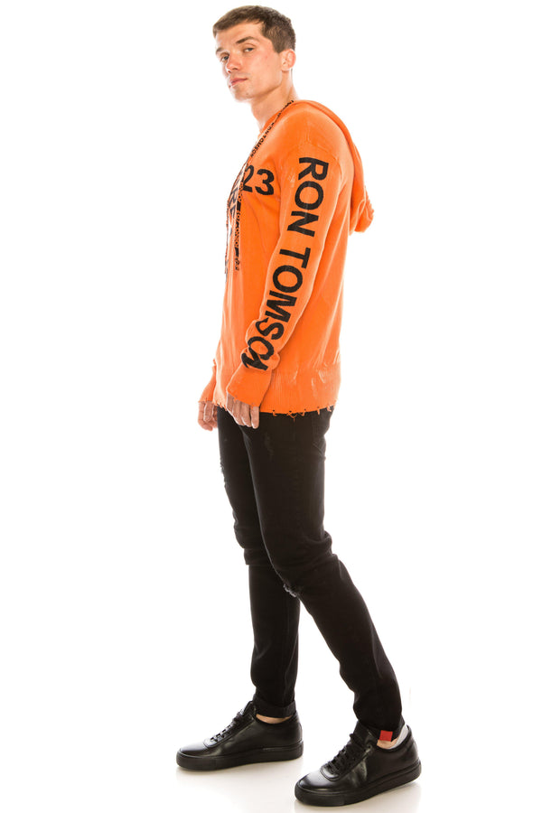Graphic Printed Terry Hoodie - Neon Orange - Ron Tomson