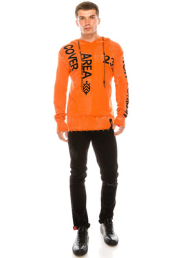 Graphic Printed Terry Hoodie - Neon Orange
