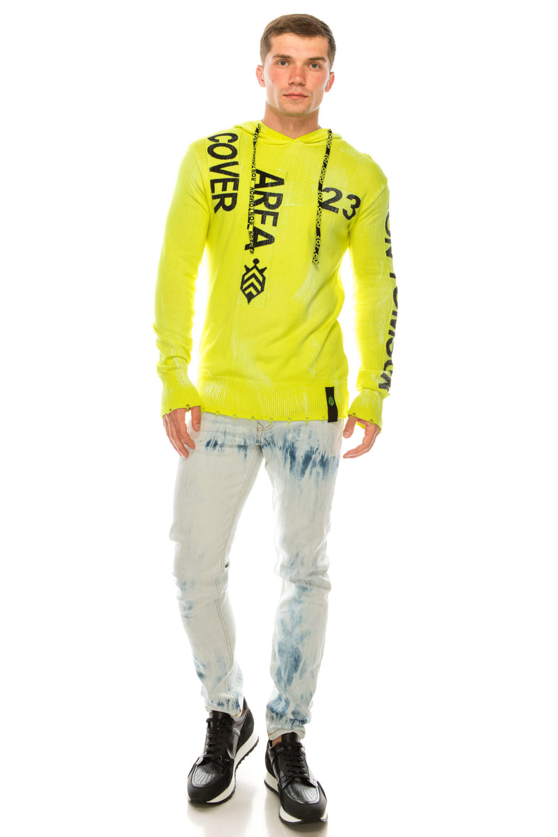 Graphic Printed Terry Hoodie - Neon Yellow - Ron Tomson