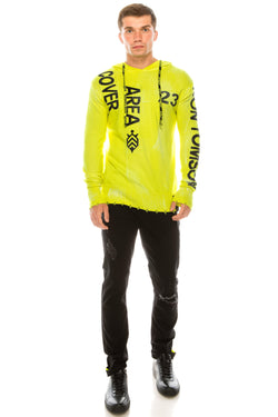 Graphic Printed Terry Hoodie - Neon Yellow